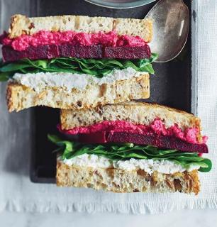 goat cheese and beet grilled cheese sandwich
