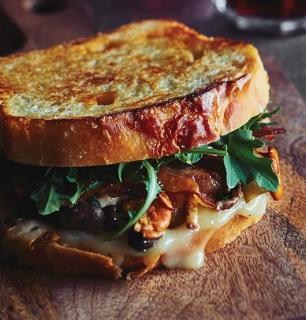 double cheddar grilled cheese sandwich with bacon